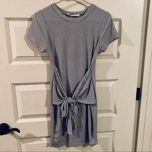 Black & White Striped Tie Front Dress